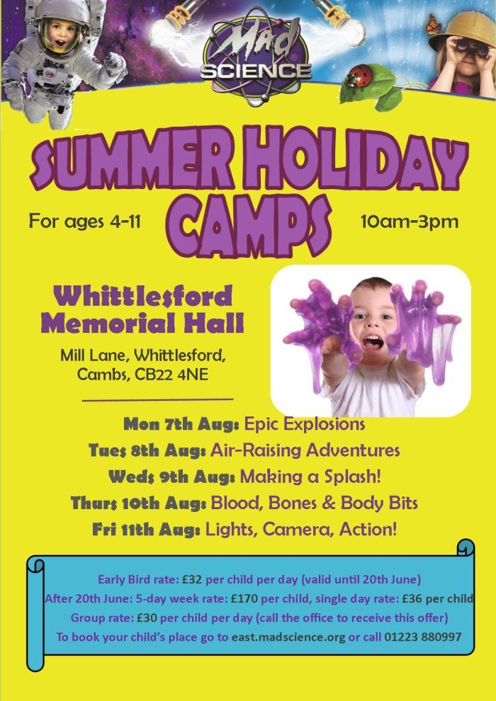 Summer camp poster - Whittlesford 2017